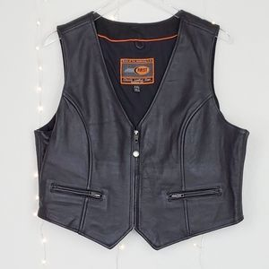 First Classic Leather Vest W/ Heart Patch Size XXL